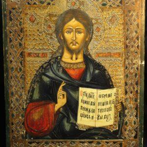 антикварная-икона-господь-вседержить-19-век
