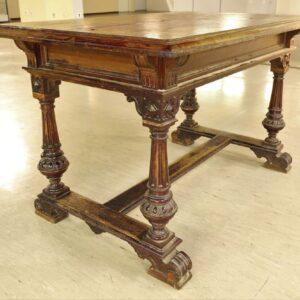Старинный-раздвижной-стол-из-дерева-дуба